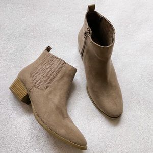 LC Lauren Conrad Mocha Taupe Ankle Boots